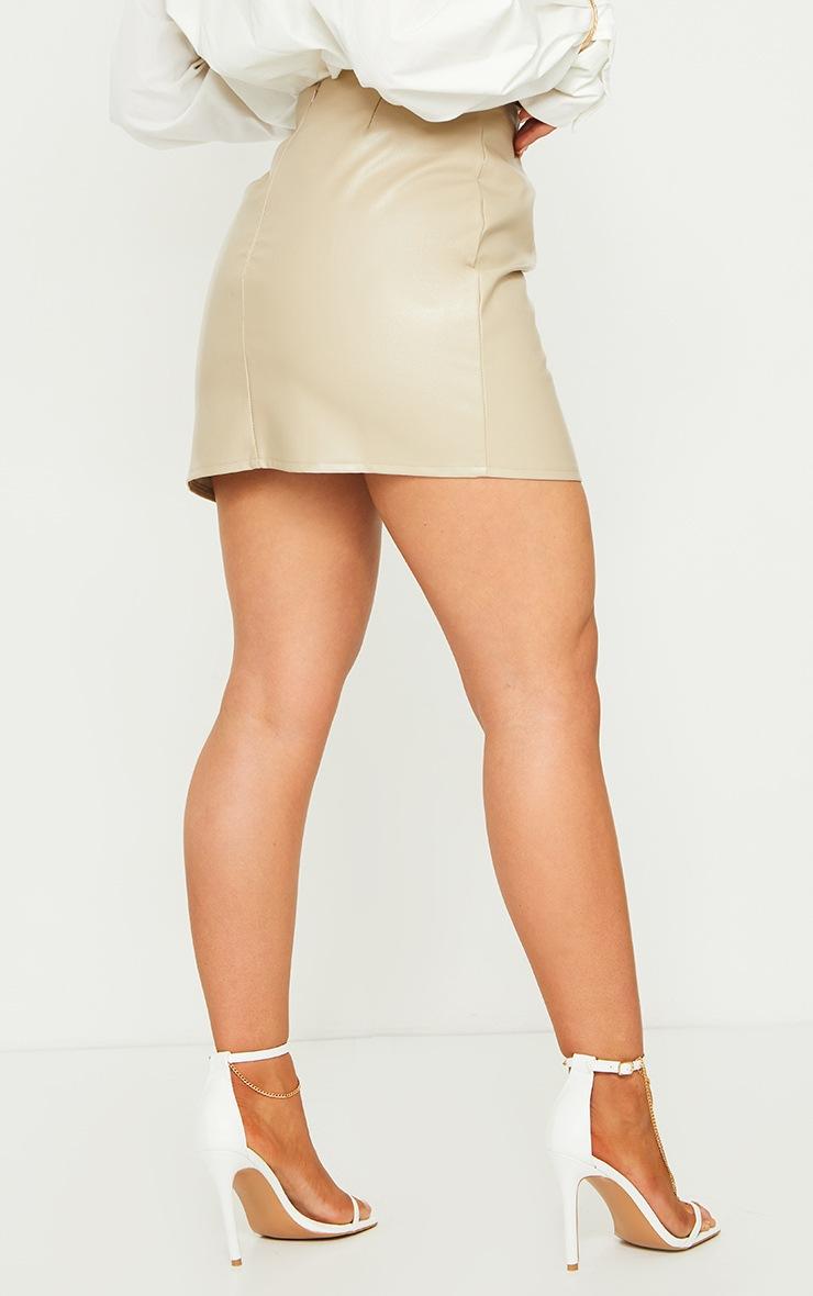Stone Faux Leather Split Hem Mini Skirt 3