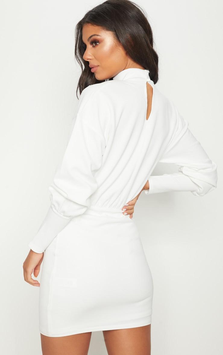 White High Neck Balloon Sleeve Bodycon Dress 2