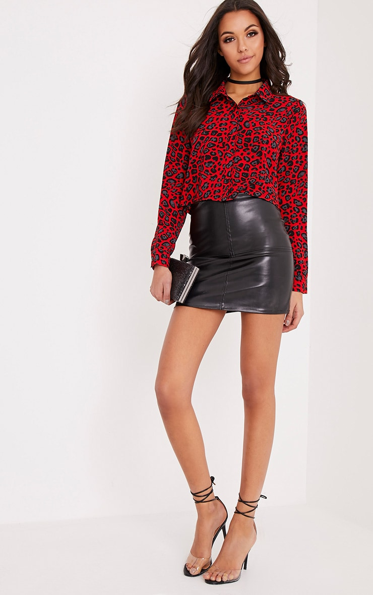 Harley Red Animal Print Woven Cropped Blouse 5