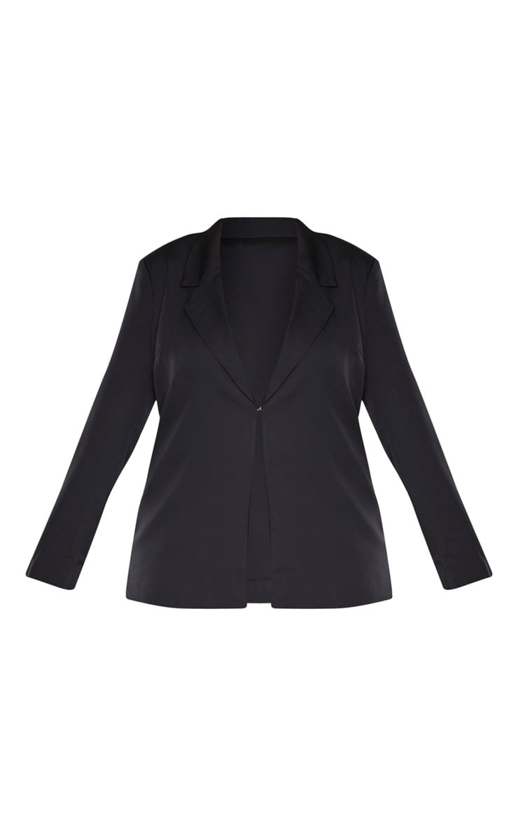 Plus Black Lapel Hook And Eye Blazer 3
