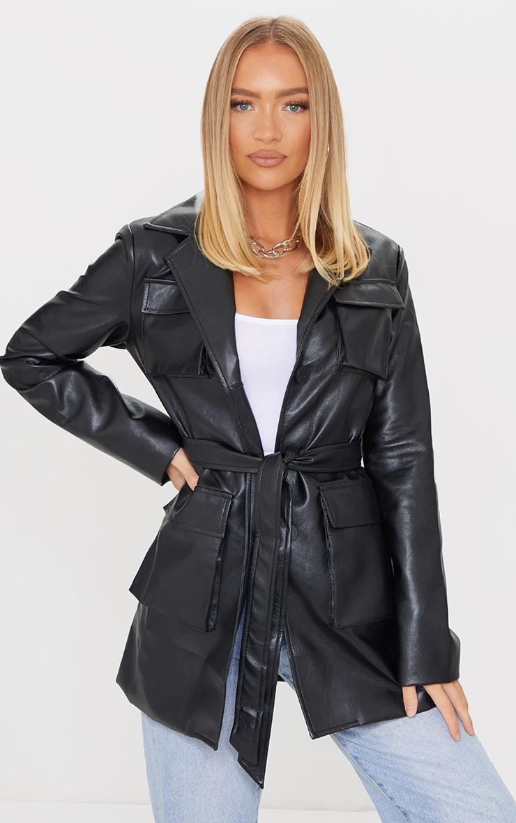 Black PU Longline Pocket Front Jacket 3