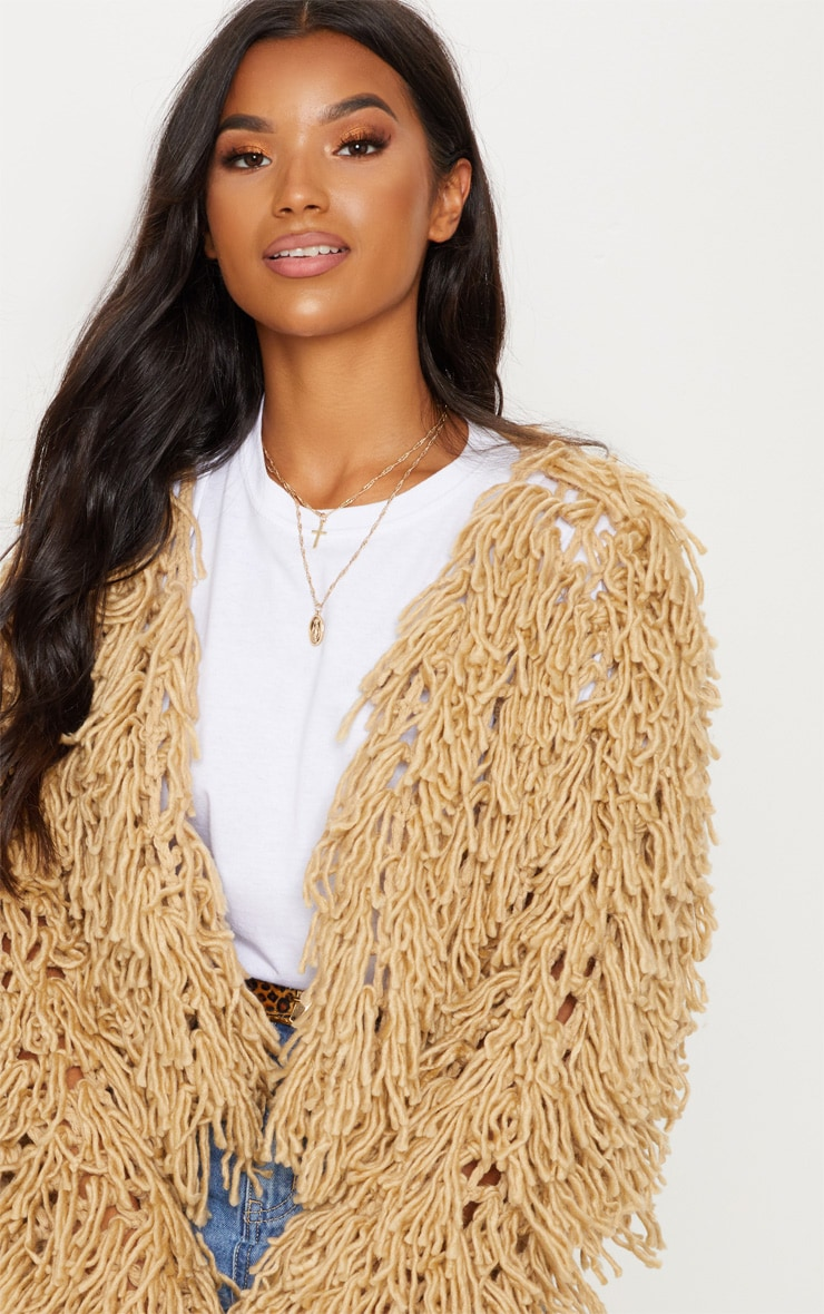 Camel Shaggy Knitted Cardigan  4