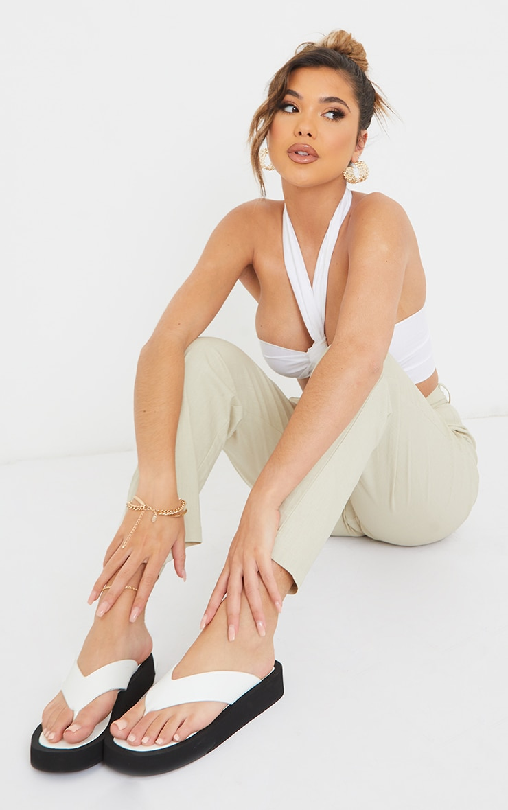White PU Toe Post Flatform Sandals 1
