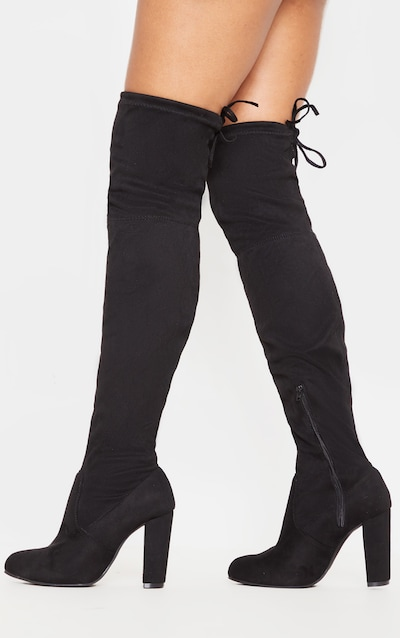 latest selection of 2019 cheapest price various styles Bess Black Faux Suede Heel Thigh Boots
