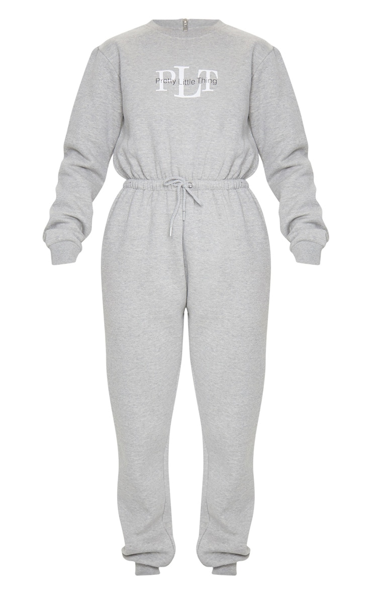 PRETTYLITTLETHING Grey Printed Sweat Jumpsuit 5