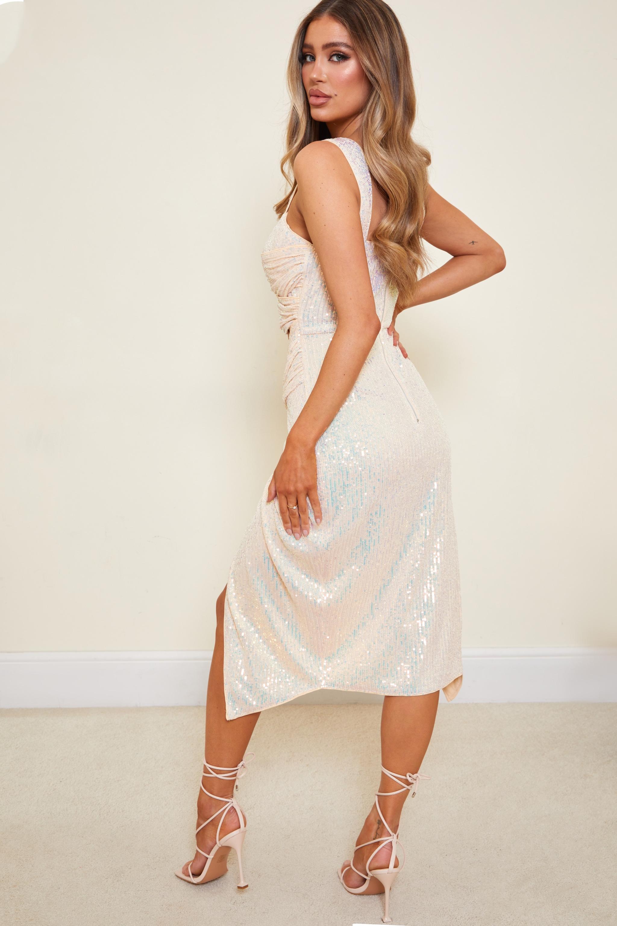 Nude Sequin Cut Out Twist Detail Sleeveless Midi Dress 2