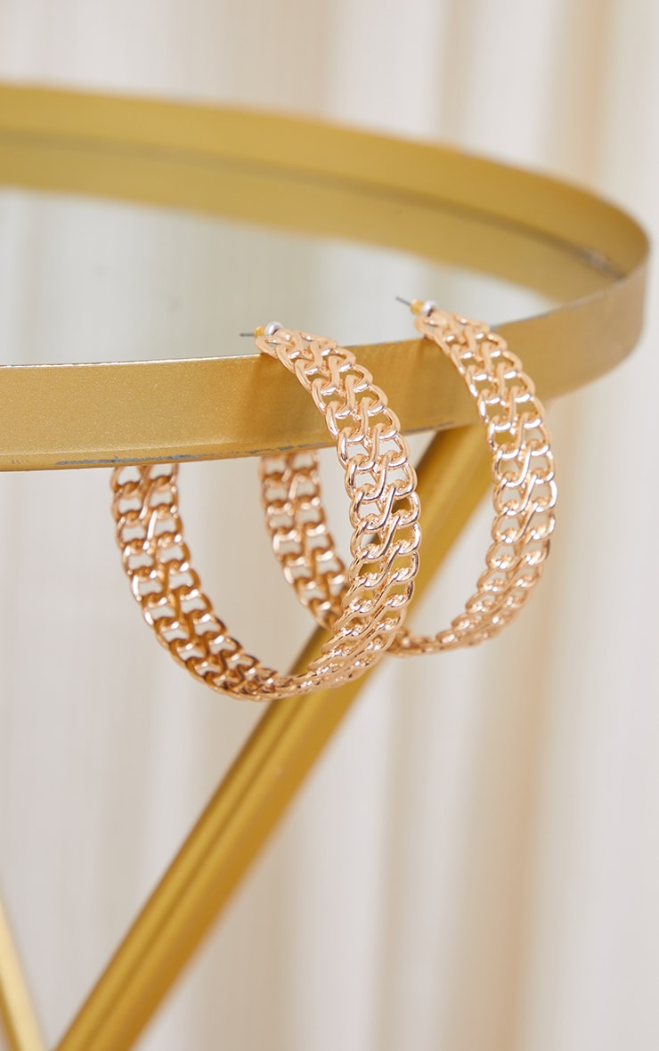 Gold Chunky Chain Thick Hoop Earrings 2