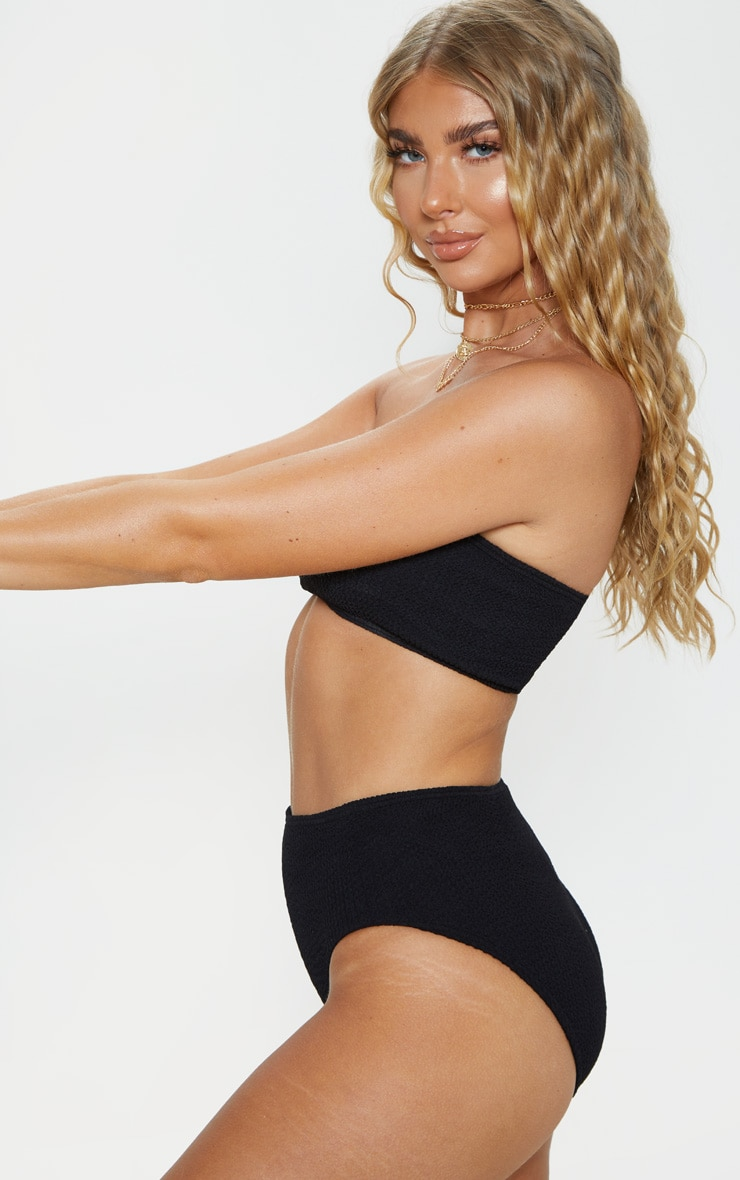 Black Crinkle High Waist Bikini Bottom 3