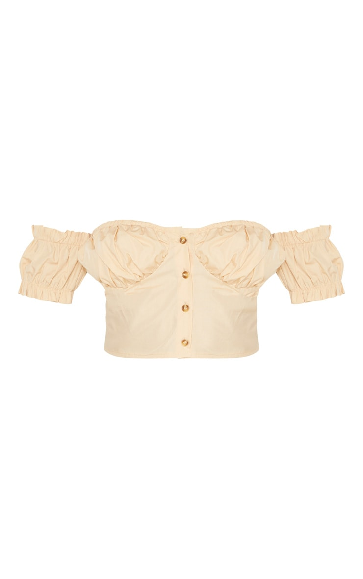 Stone Ruched Cup Button Up Short Sleeve Crop Top 3