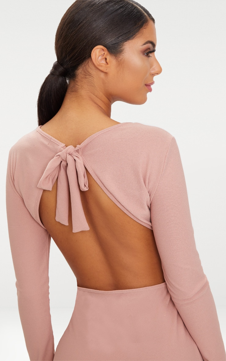 Dusty Pink Backless Bow Detail Midi Dress 5