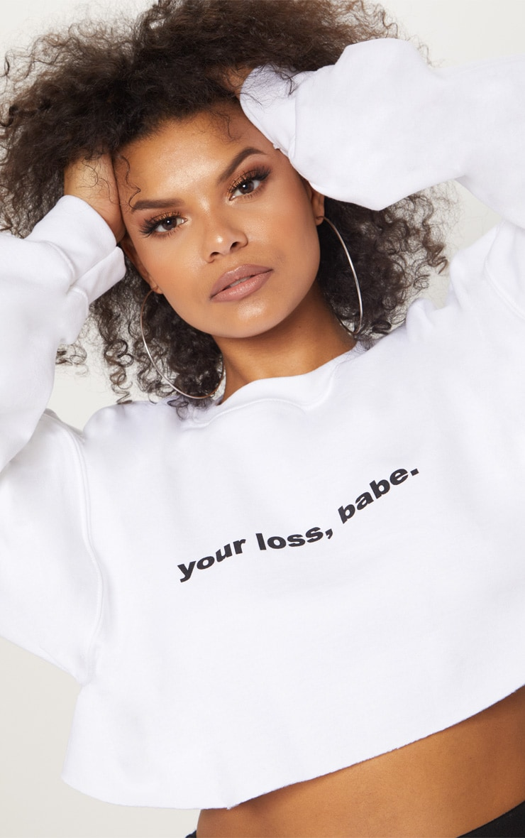 Plus White Your Loss Babe Cropped Sweater 5