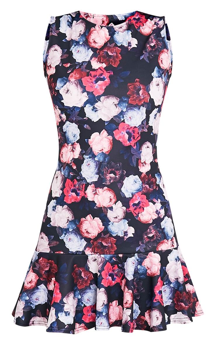 Amanie Pink Floral Print Drop Hem Bodycon Dress 3