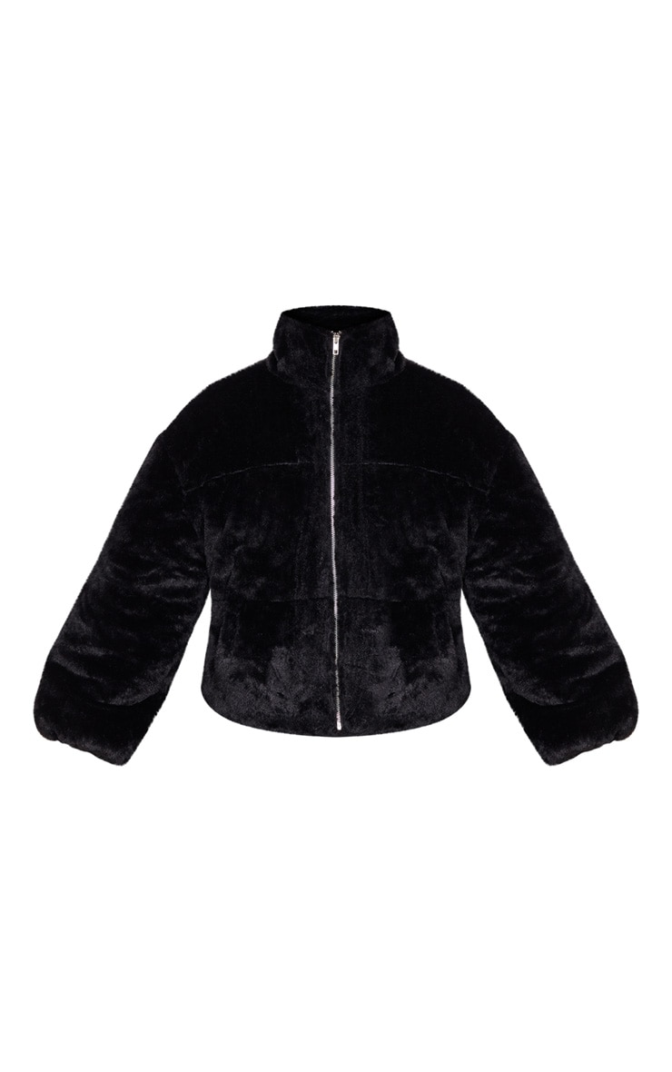 Black Faux Fur Zip Through Bomber 3