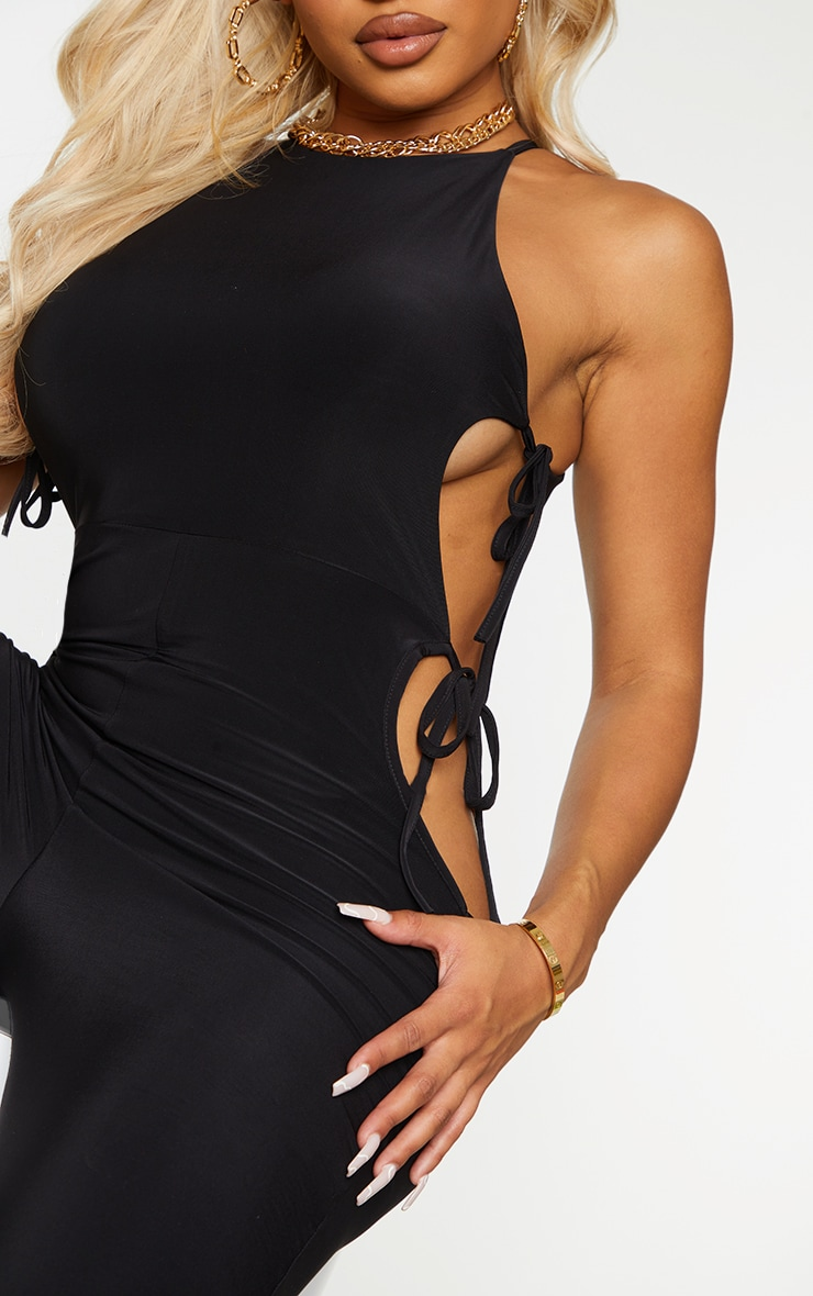 Shape Black Slinky Tie Side Cut Out Jumpsuit 4