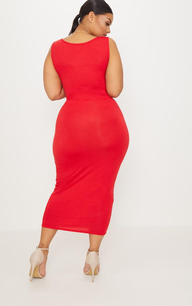 Plus Red Basic Jersey Midi Dress 2