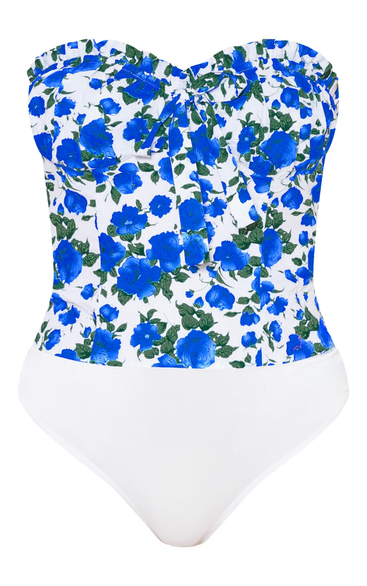 Blue Floral Woven Frill Cup Detail Sleeveless Bodysuit 3