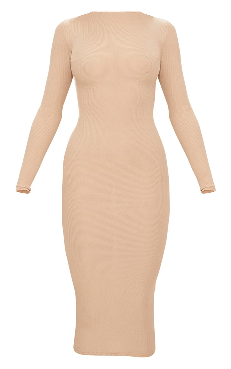 Stone Ribbed Long Sleeve Midi Dress 3
