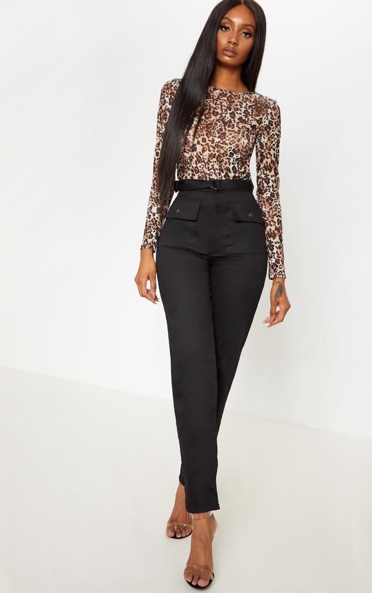Brown Mesh Leopard Print Long Sleeve Top 4
