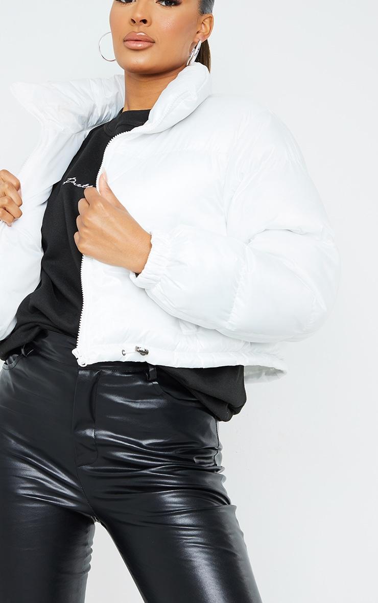 White Nylon Toggle Hem Puffer Jacket 4