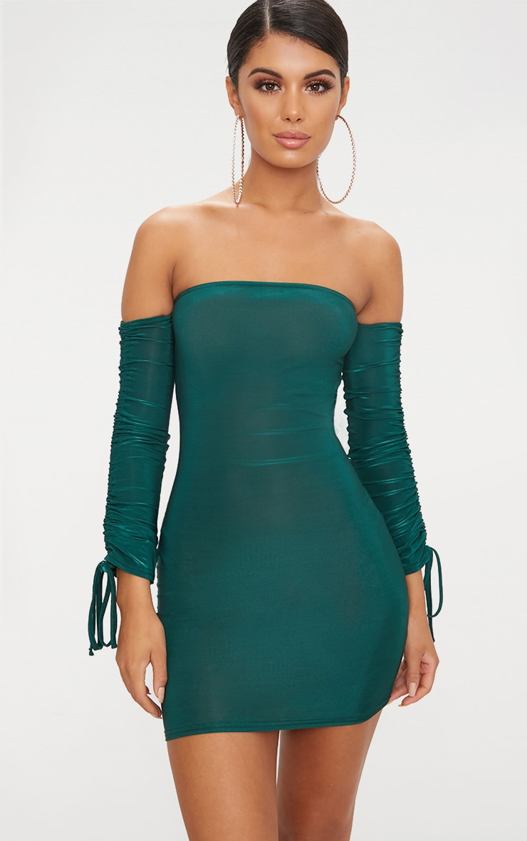 Emerald Green Slinky Bardot Bodycon Dress 1