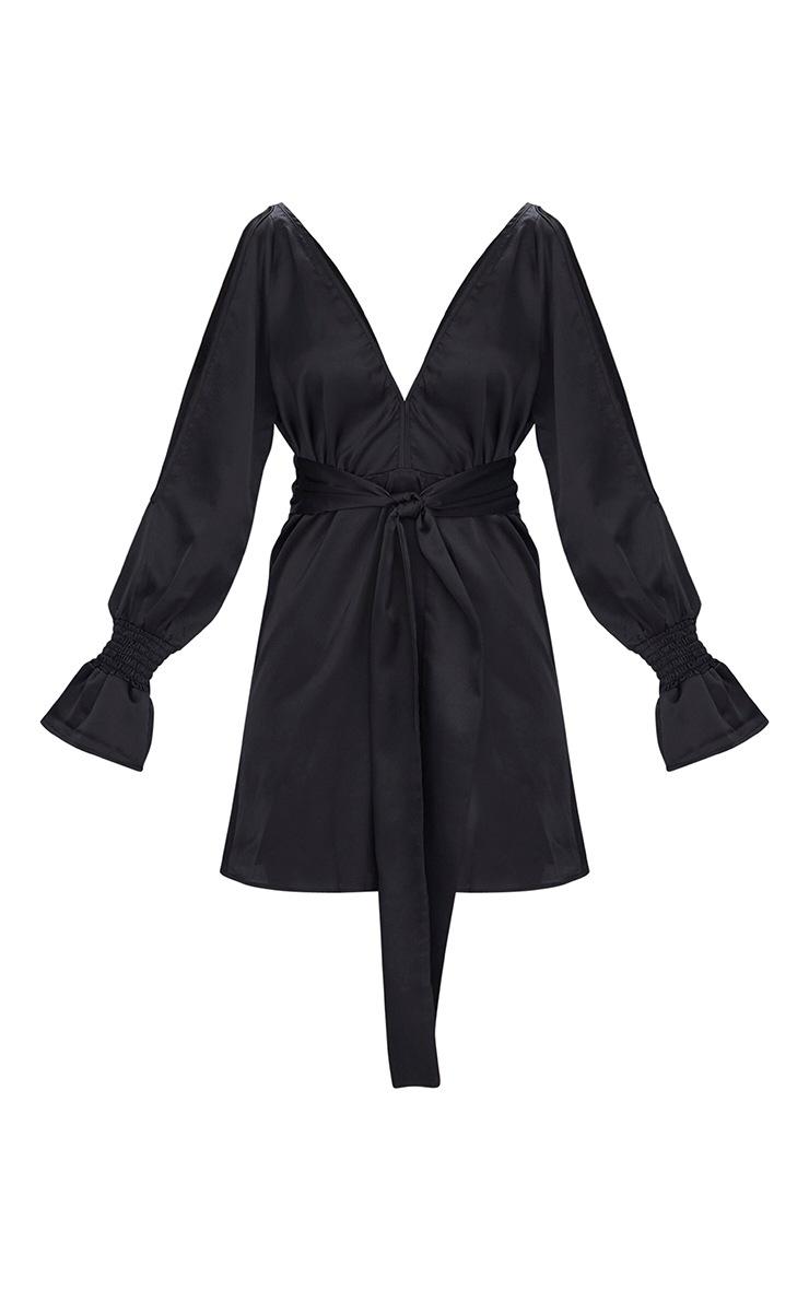 Black Satin Cold Shoulder Plunge Bell Cuff Bodycon Dress 3