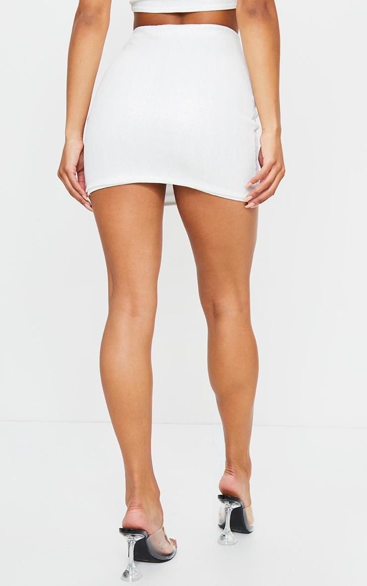 White Textured Glitter Mini Skirt 3