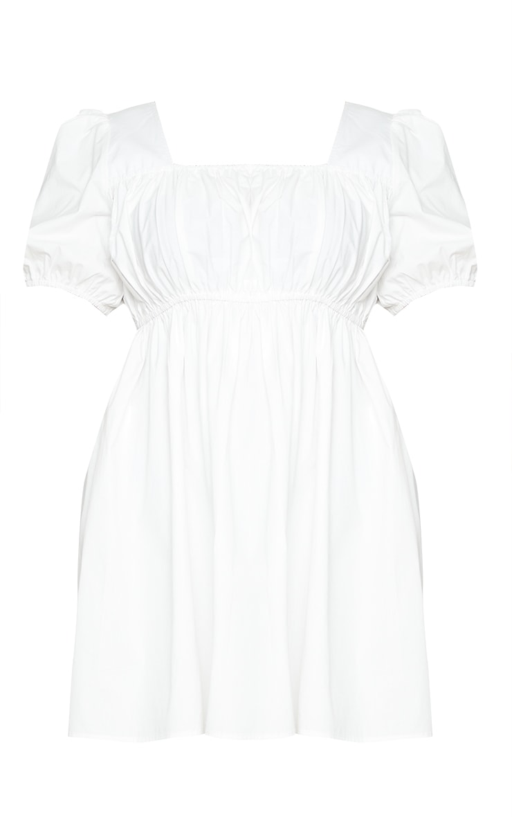 Plus White Square Neck Ruched Bust Poplin Dress 5