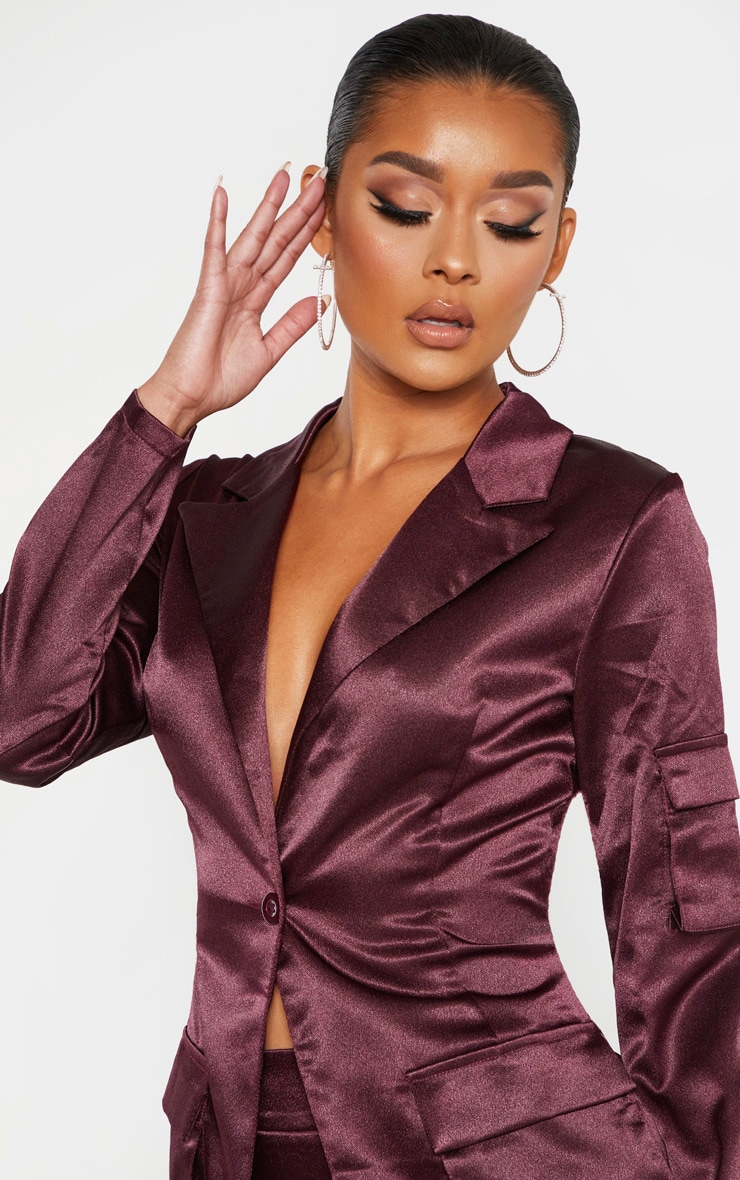 Plum Satin Pocket Fitted Blazer 5