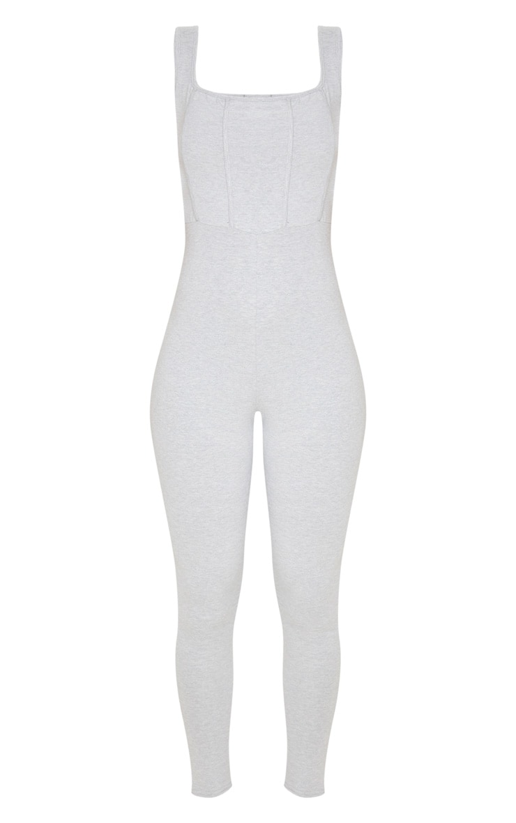 Grey Binding Detail Square Neck Jumpsuit 3