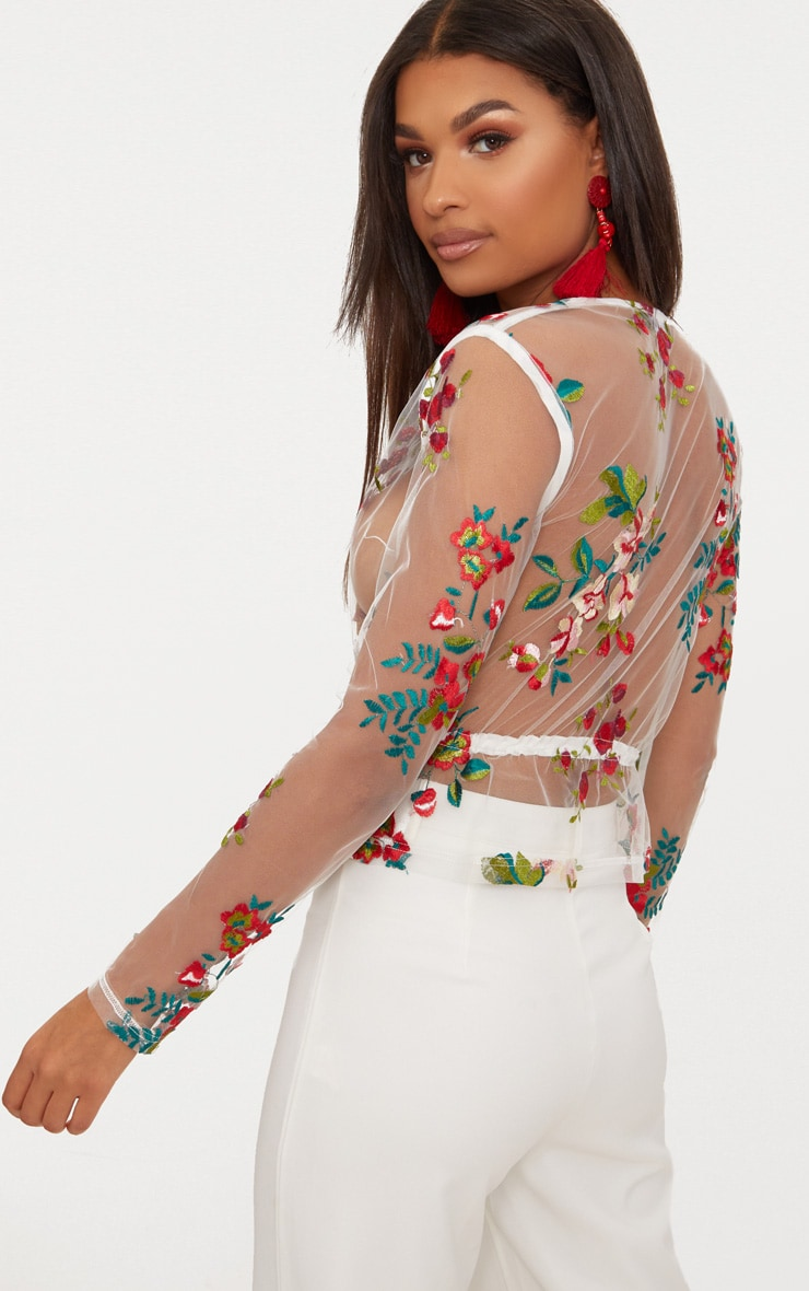 White Embroidered Lace Tie Waist Top 2