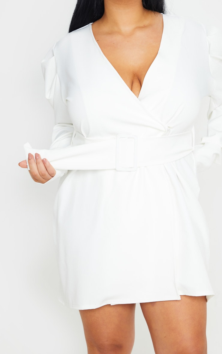 Plus White Puff Sleeve Blazer Dress 5