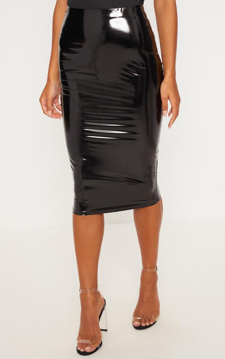 Black Vinyl Midi Skirt 2