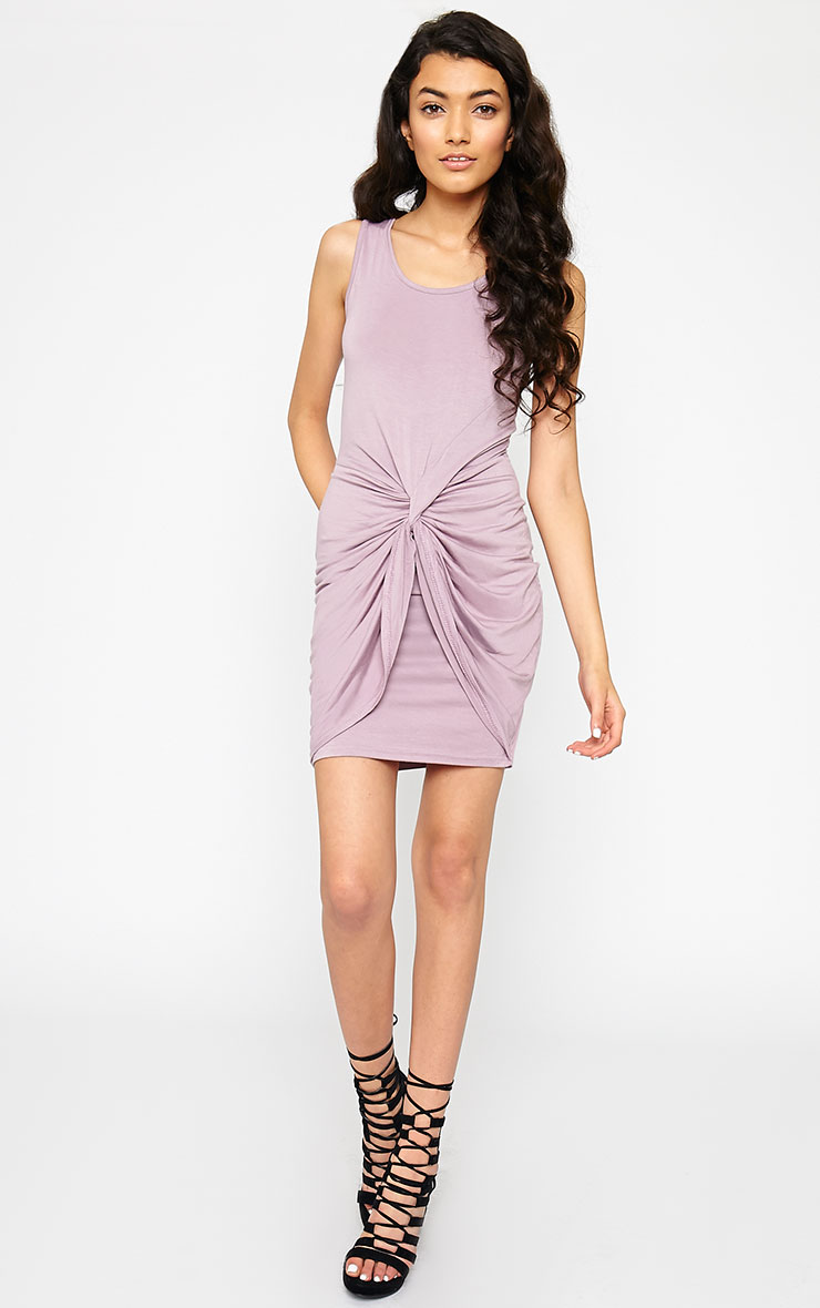 Izabella Mauve Twist Front Dress 3