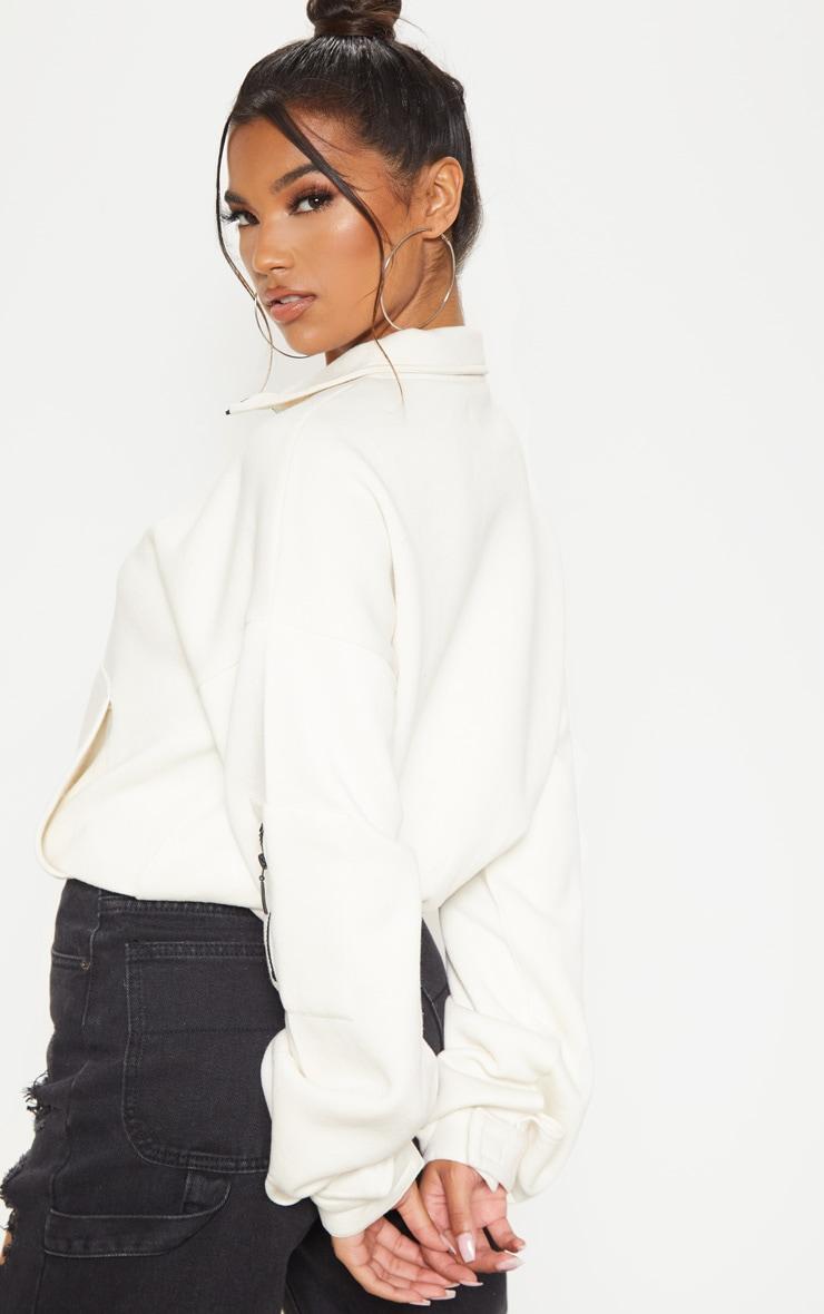 Ecru Oversized Zip Front Sweater 2
