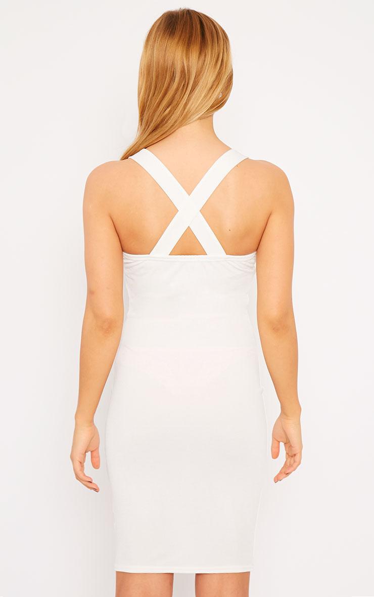 Habiba White Crepe Keyhole Cut Out Mini Dress 3