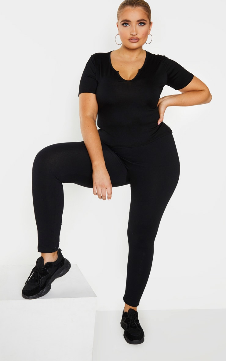 Plus Black Jersey V Short Sleeve T Shirt 1