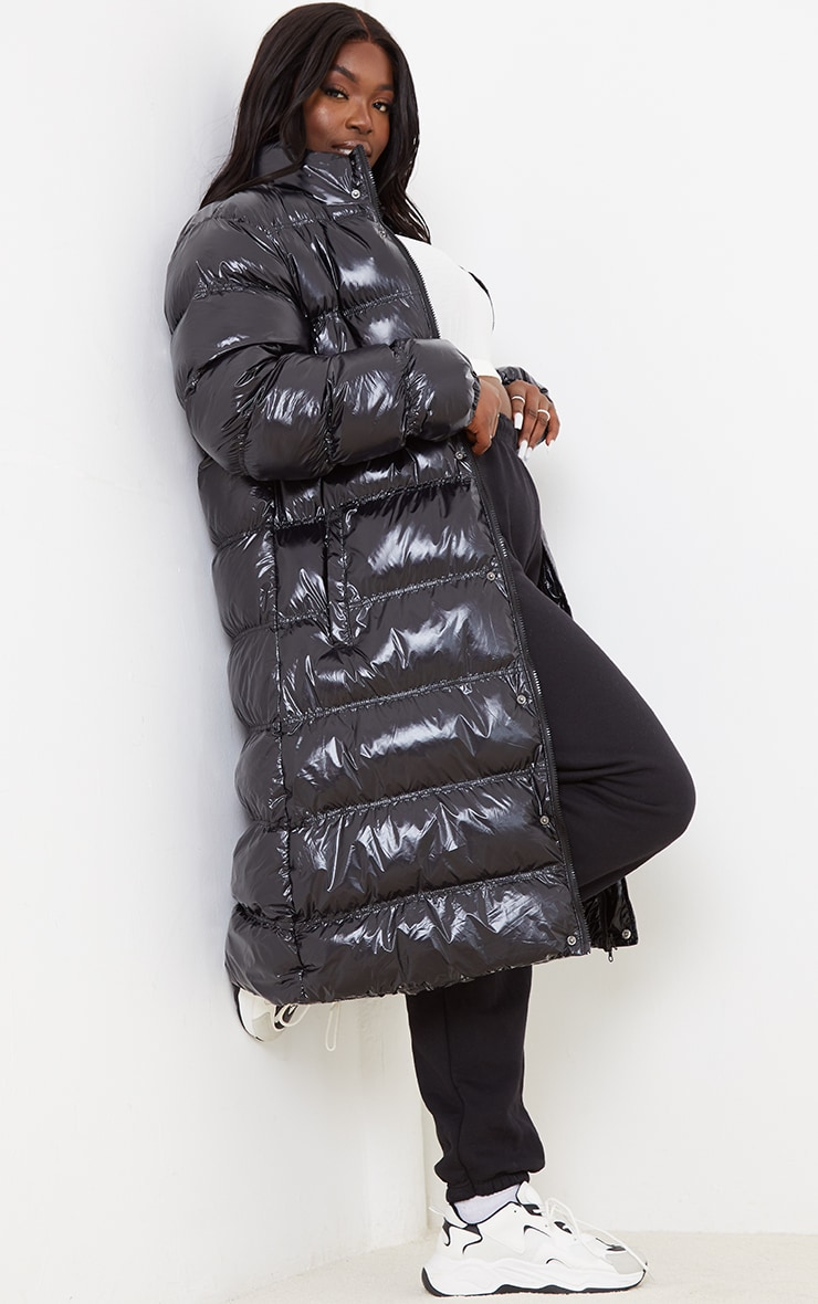 Plus Black Maxi High Shine Fitted Puffer 3