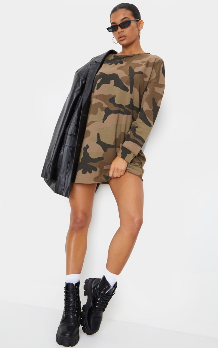 Khaki Camo Loop Back Sweater Dress 4