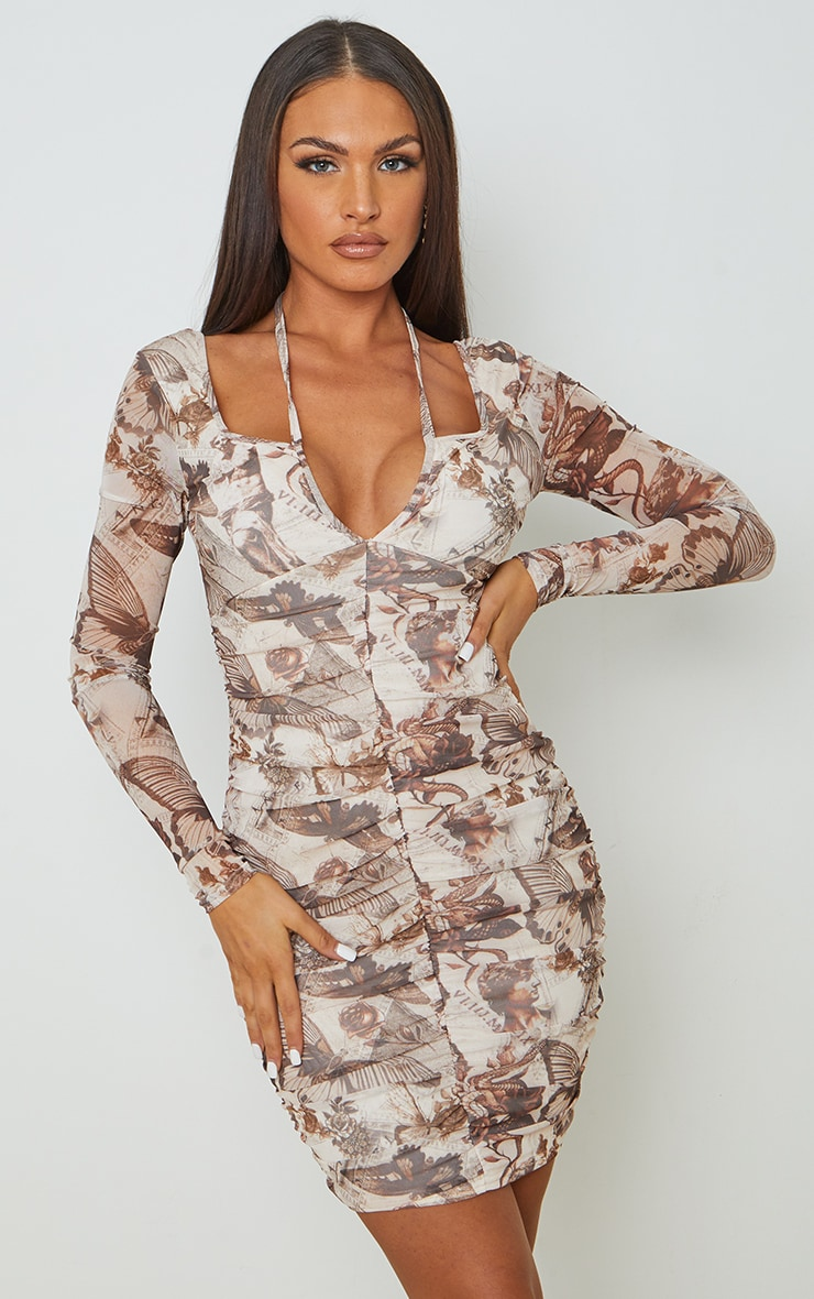 Nude Renaissance Printed Mesh Halterneck Detail Long Sleeve Bodycon Dress 1