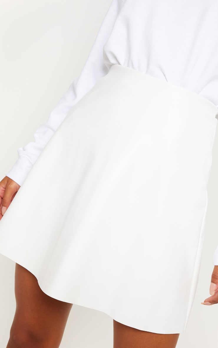 Ivory Faux Leather A Line Mini Skirt 6