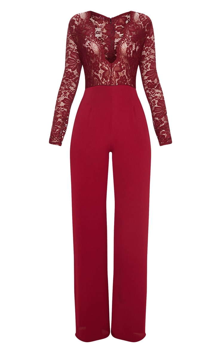 Burgundy Lace Long Sleeve Plunge Jumpsuit 3