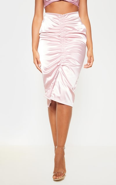Dusty Lilac Satin Ruched Front Midi Skirt