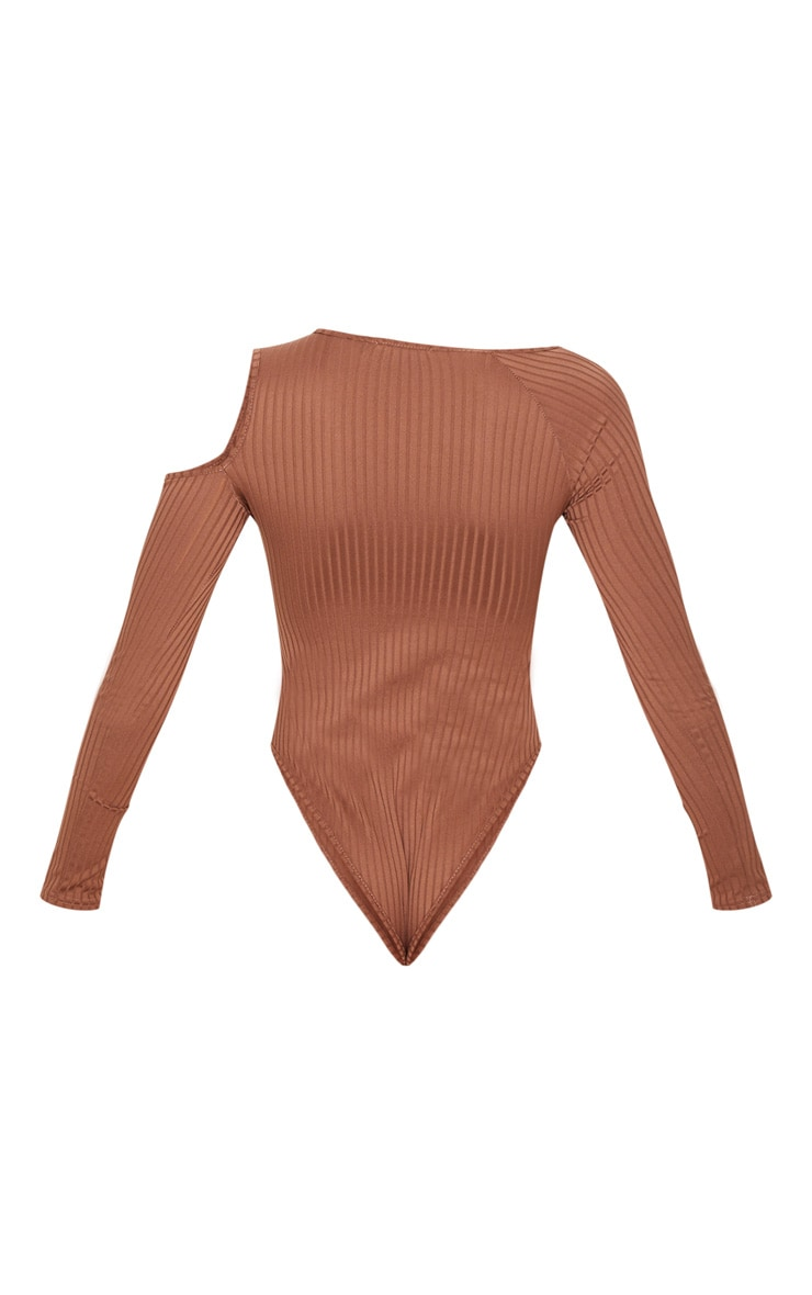 Brown Rib Cut Out Long Sleeve Bodysuit 4