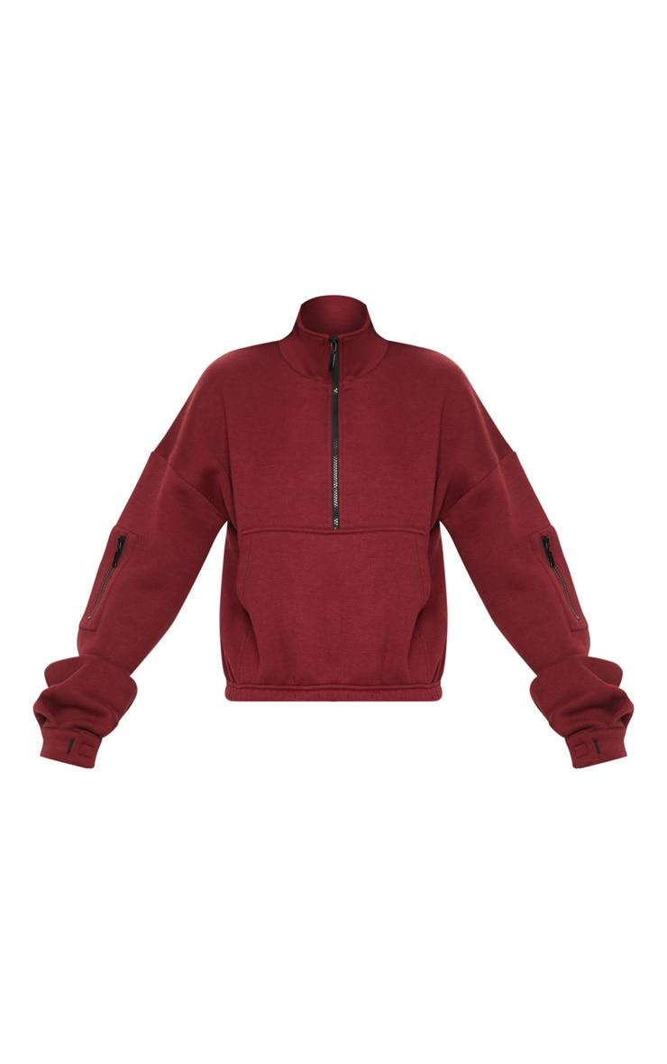 Burgundy Oversized Zip Front Sweater  3