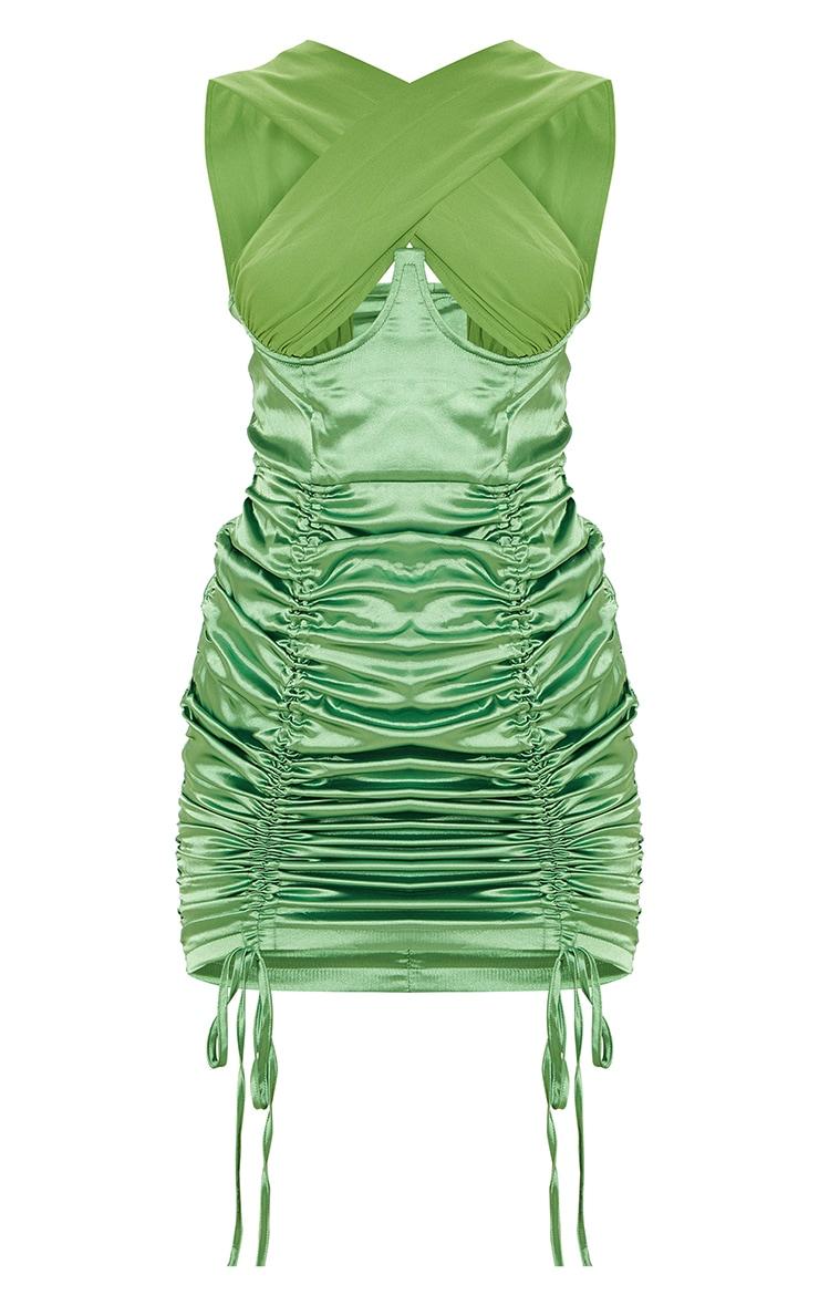 Green Satin Halterneck Underbust Ruched Bodycon Dress 6