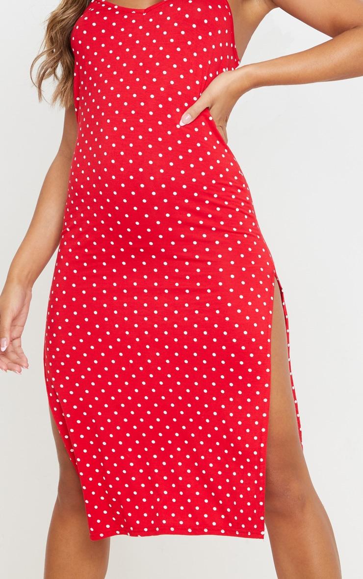 Red Polka Dot Print Split Jersey Midi Dress 5
