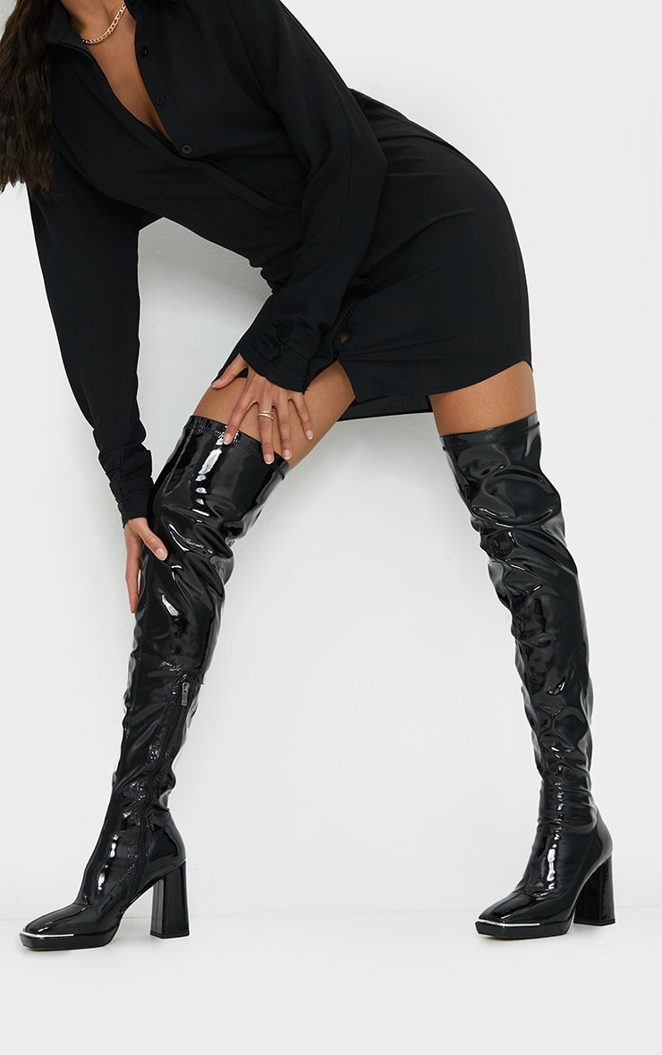 Black Patent Square Toe Cap Mid Over Knee Heeled Boots 2