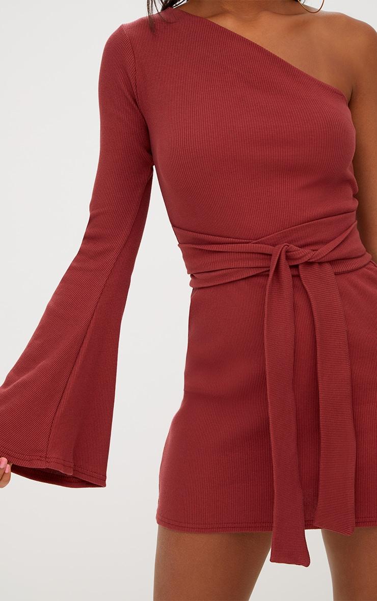 Tobacco Ribbed Tie Waist One Shoulder Bodycon Dress 5