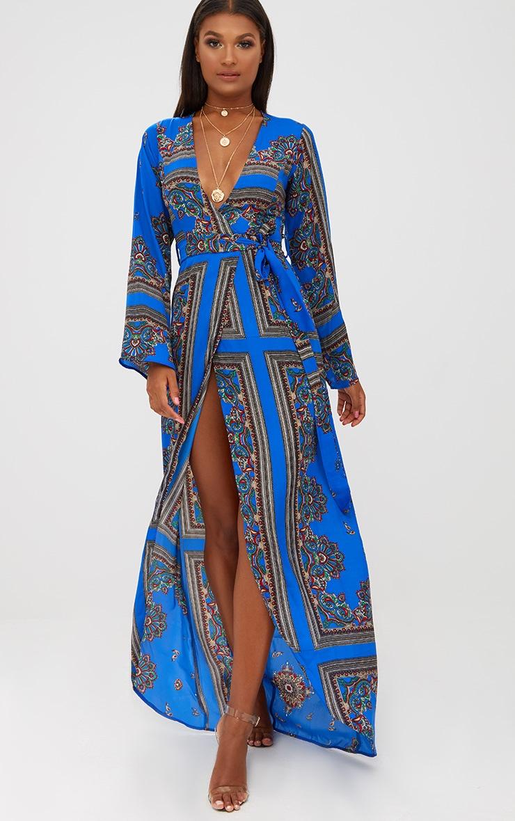 Cobalt Print Satin Kimono Maxi Dress 1