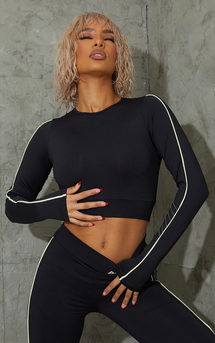 Black Piping Detail Long Sleeve Cropped Sports Top 2